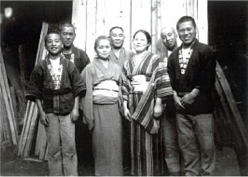 昭和11年頃 当時の近藤材木店「家族と従業員」